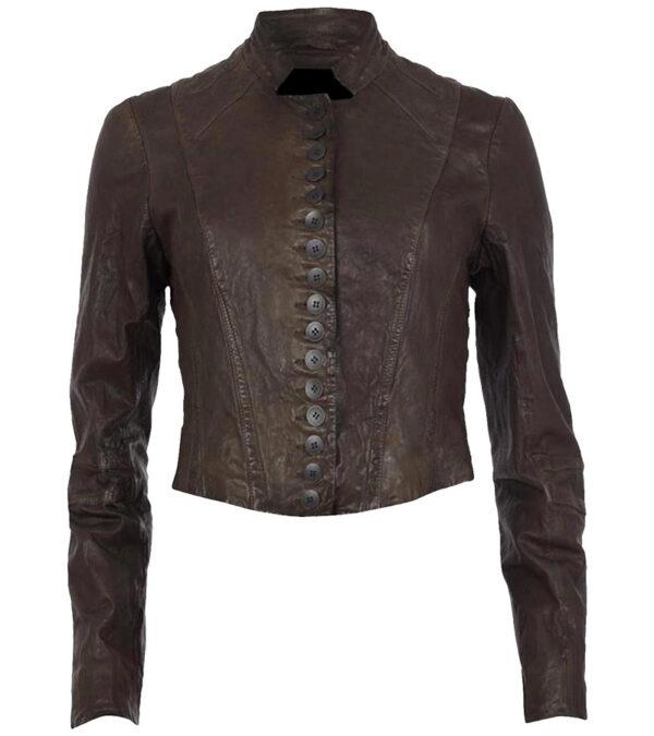 Women Brown Leather Slim Fit Vanessa Marano Jacket