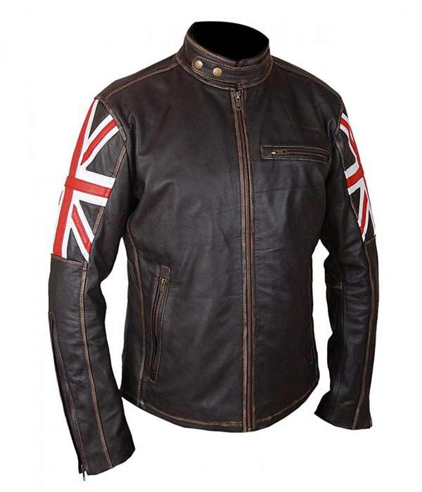 Buy UK Flag Union Jack Real Leather Slim Fit Jacket at $61 Off Sale