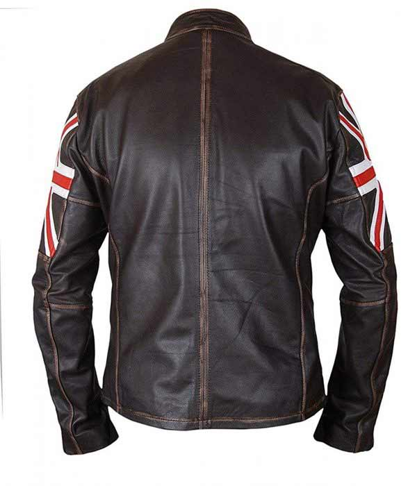 Buy UK Flag Union Jack Real Brown Leather Motorcycle Jacket at $61 Off Price