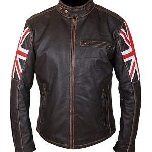 $61 Off on UK Flag Union Jack Black Leather Biker Jacket