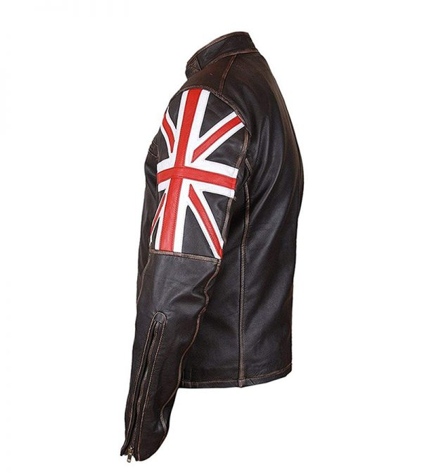 Buy UK Flag Union Jack Real Brown Leather Motorcycle Jacket at $61 Off Sale