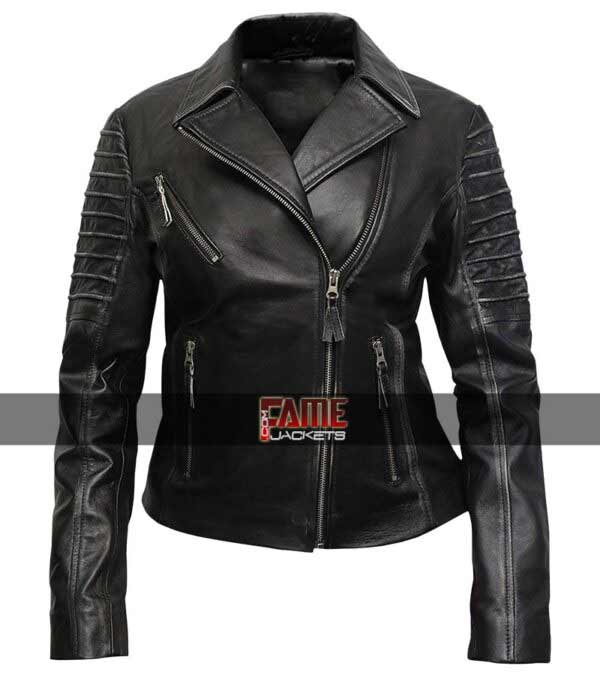 Women Distress Cafe Racer Jacket in Real Leather