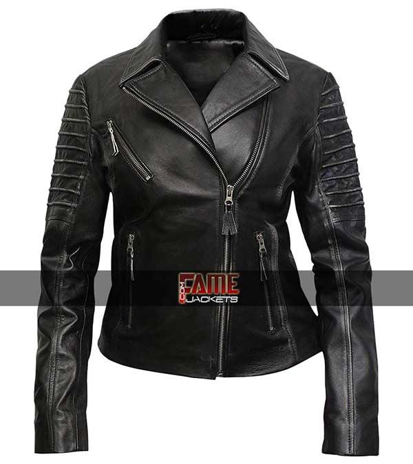New Genuine Real Leather Jacket Ladies Slim Fit Biker Coat Cafe Racer Women
