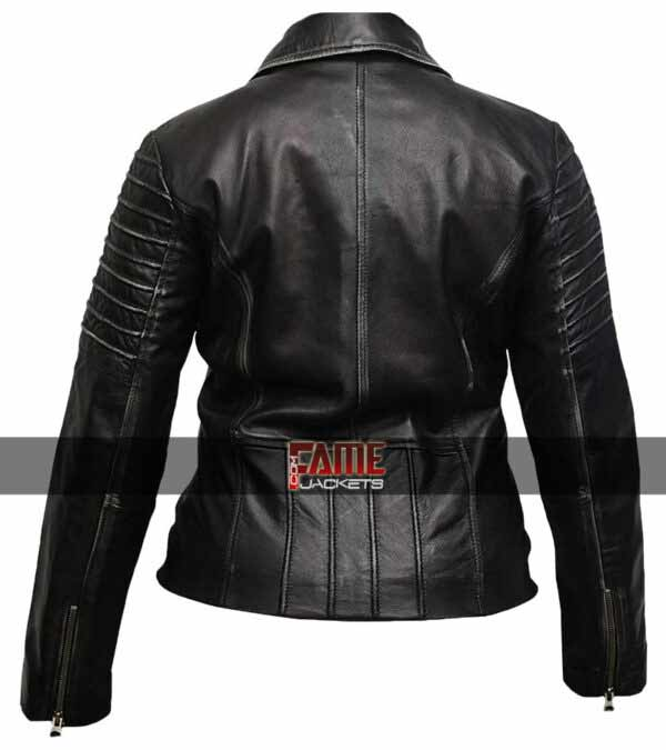Women Distress Cafe Racer Jacket in Cowhide material