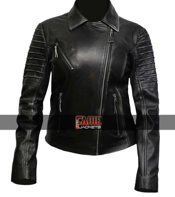 Ladies Distress Cafe Racer Jacket in Real Cowhide Material