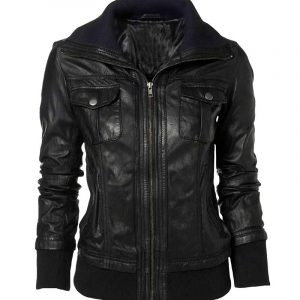 $30 of on Gents & Ladies Double Collar Casual Black Leather Jacket