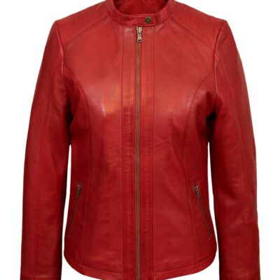 $40 Off on Ladies Red Faux Leather Round Collar Biker Jacket