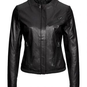 Women's Casual Collarless Black Leather Jacket at $40 Off