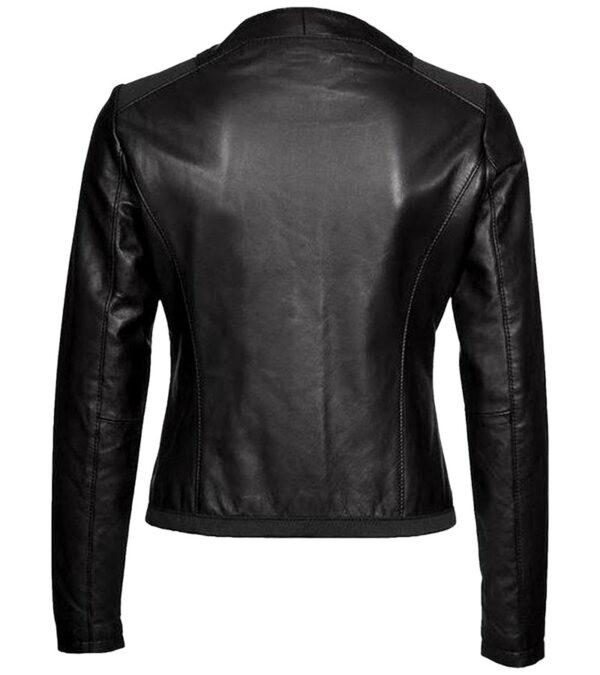Buy Ladies Black Leather Biker Jacket at $40 Sale