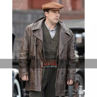 Ben Affleck Brown Leather Winter Coat at $70 Off