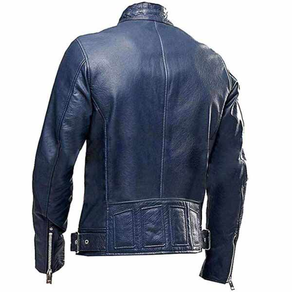 $50 off Sale – Men's Café Racer Vintage Real Blue Lather Biker Jacket