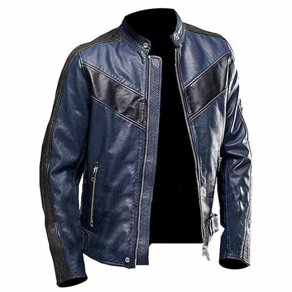 Buy Gents Café Racer Vintage Blue Lather Biker Jacket at $50 off Sale