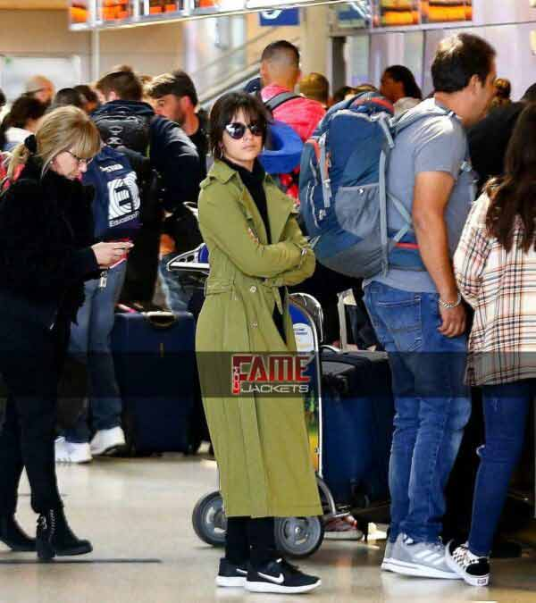 Camila Cabello Long Green Trench Coat