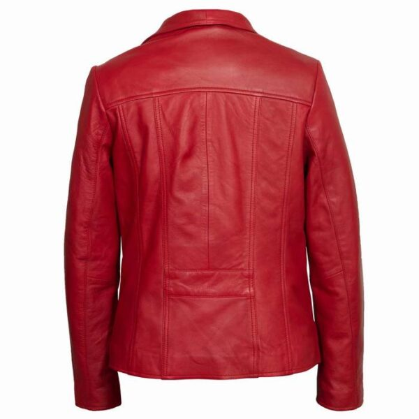 Buy Women's Red Leather Jacket at $50 Off Price