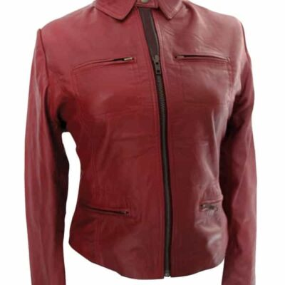 Buy Emma Swan Once Upon a Time Red Leather Jacket at $50 Off Sale