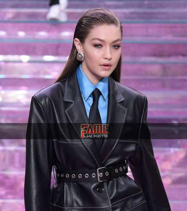 Gigi hadid black real leather over coat