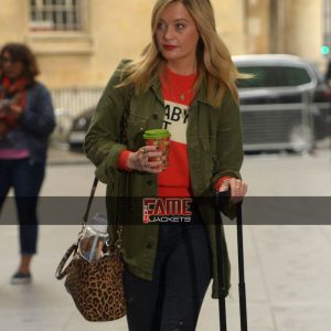 Laura Whitmore Green Cotton Mini Coat