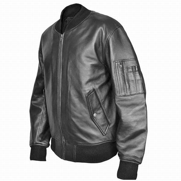 dd76f5035 US Air Force Military MA1 Flight Pilot Bomber Black Leather Jacket