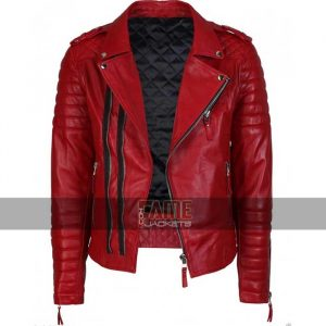 mens real red leather slim fit biker jacket