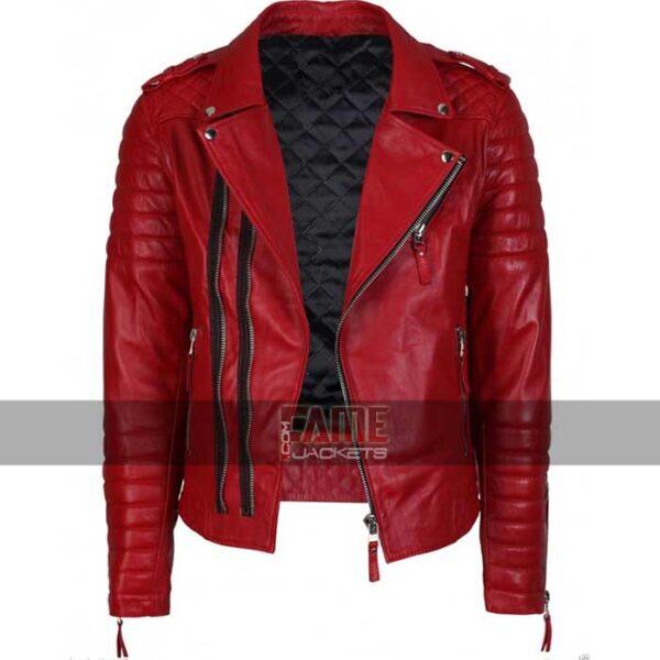 mens real red leather slim fit biker jacket