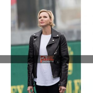 Princess Charlene of Monaco Black Real Leather Jacket
