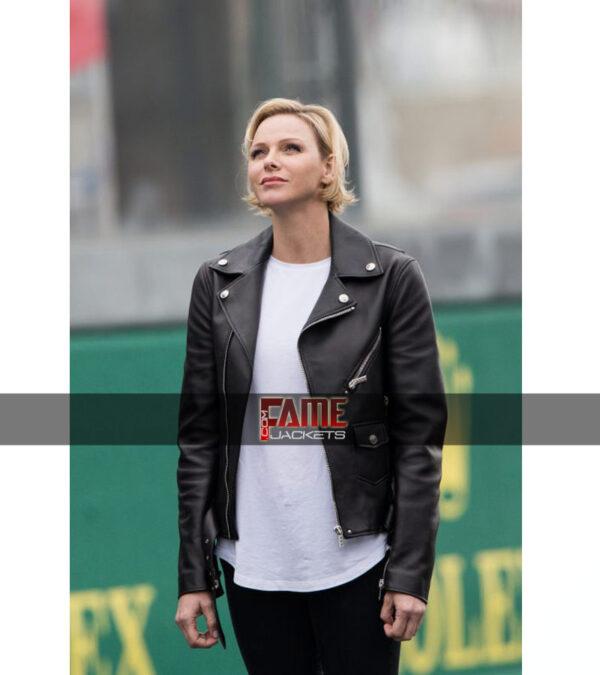 Princess Charlene of Monaco Black Real Leather Jacket
