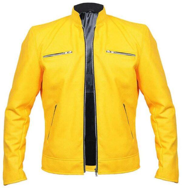 Buy Samuel Barnett Yellow Leather Jacket