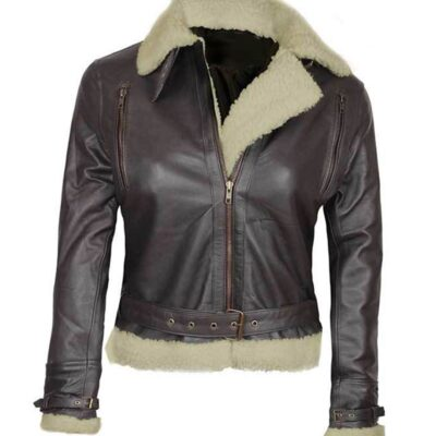 Women Aviator Shearling Dark Brown Leather Jacket