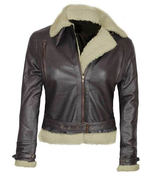 Women Aviator Shearling Dark Brown Leather Jacket