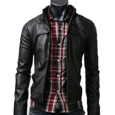 Black Slim Fit Real Leather Jacket Belted Collar