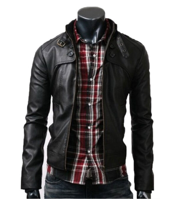 Black Slim Fit Real Leather Jacket Belted Collar