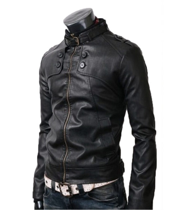 Slim Fit Black Real Leather Jacket For Men