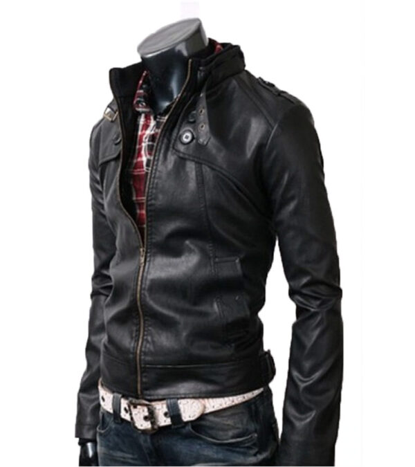 Black Slim Fit Faux Leather Jacket Belted Collar