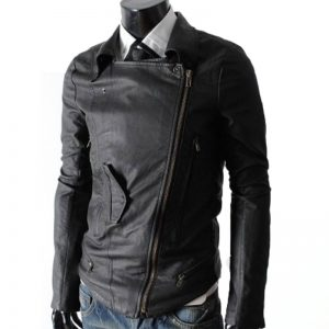 Black Slim Fit Multi Pocket Rider Real Leather Jacket