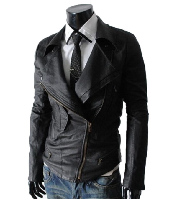 Men Black Multi Pocket Rider Leather Jacket