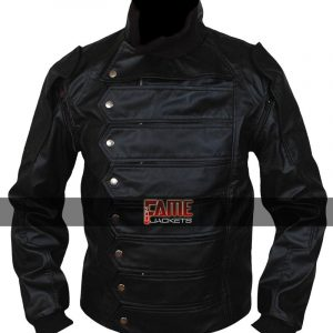 Buy Bucky Barnes Black Leather Jacket