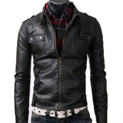 Slim Fit Black Rider Leather Jacket With Button Pocket