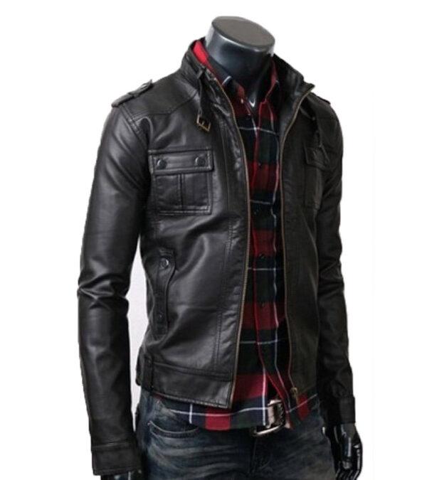 Button Pocket Slim Fit Black Rider Leather jacket