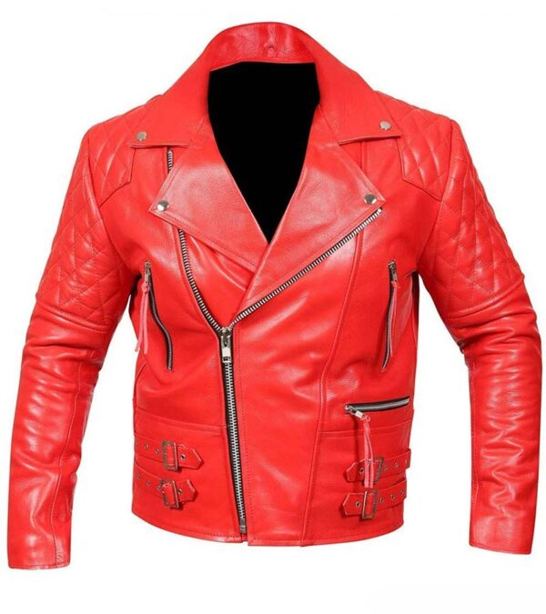 Cafe Racer Biker Red Leather Jacket For Men