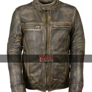 Cafe Racer Brown Real Distress Leather Biker Jacket