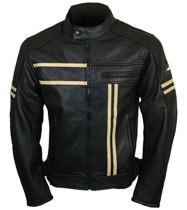 Men Cafe Racer Vintage Real Leather Jacket