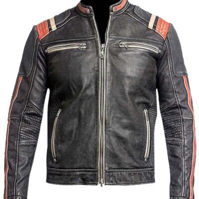 cafe racer vintage distressed black biker leather jacket