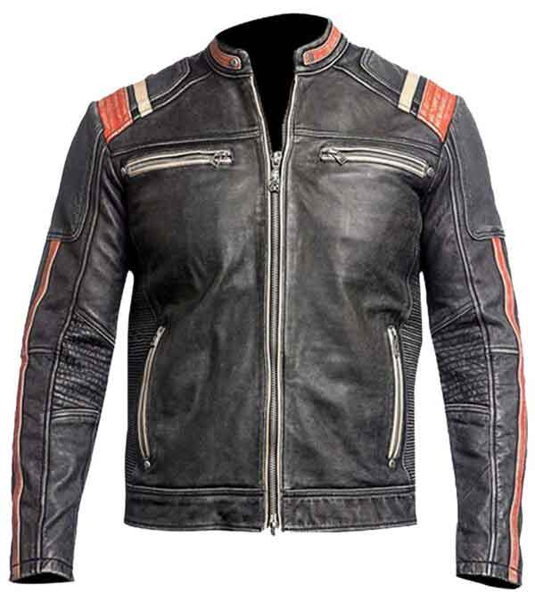 cafe racer vintage distressed black biker leather jacket