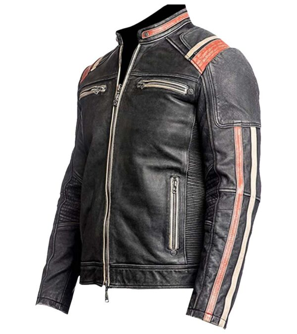 Cafe racer vintage distressed biker leather jacket