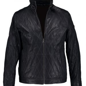 Men's Casual Dimond Stitch Black Leather Biker Jacket