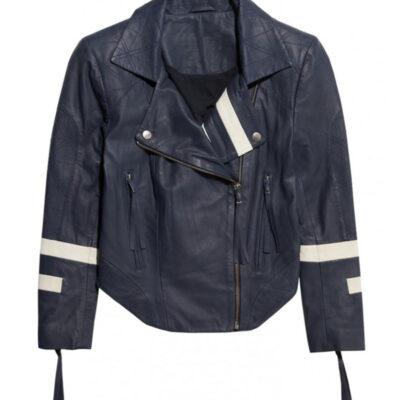 Skye in Agents of Shield Blue Faux Leather Jacket