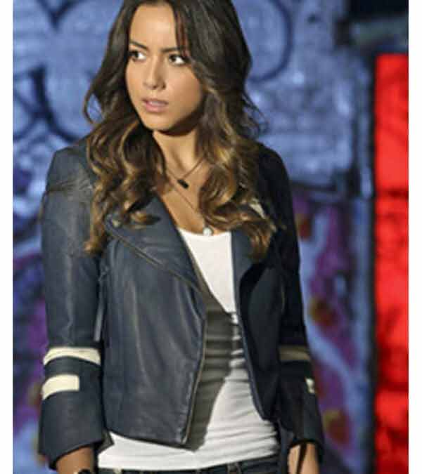 Chloe Bennet Blue Leather Jacket