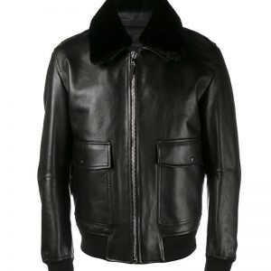 Men Slim Fit Flight Aviator Black Real Leather Jacket