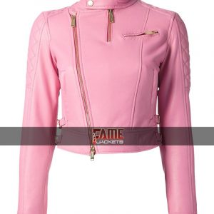 Buy at $40 Off Sale - Pink Leather Motorcycle Jacket
