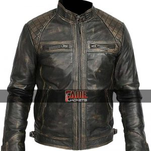 Men black rub off leather biker jacket